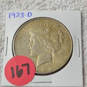 Lot # 167 1923-D SILVER PEACE DOLLAR