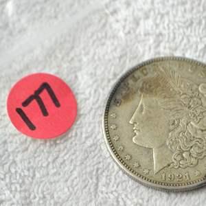 Lot # 177 1921-D MORGAN SILVER DOLLAR