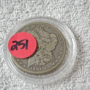 Lot # 251 1891-O MORGAN SILVER DOLLAR