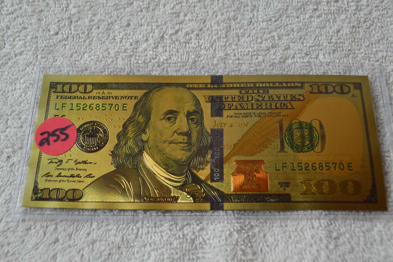 Lot # 255 GOLD FOIL $100 DOLLAR BILL