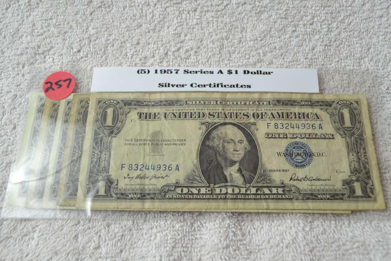 Lot # 257 FIVE 1957 SERIES A $1 SILVER CERTIFICATE