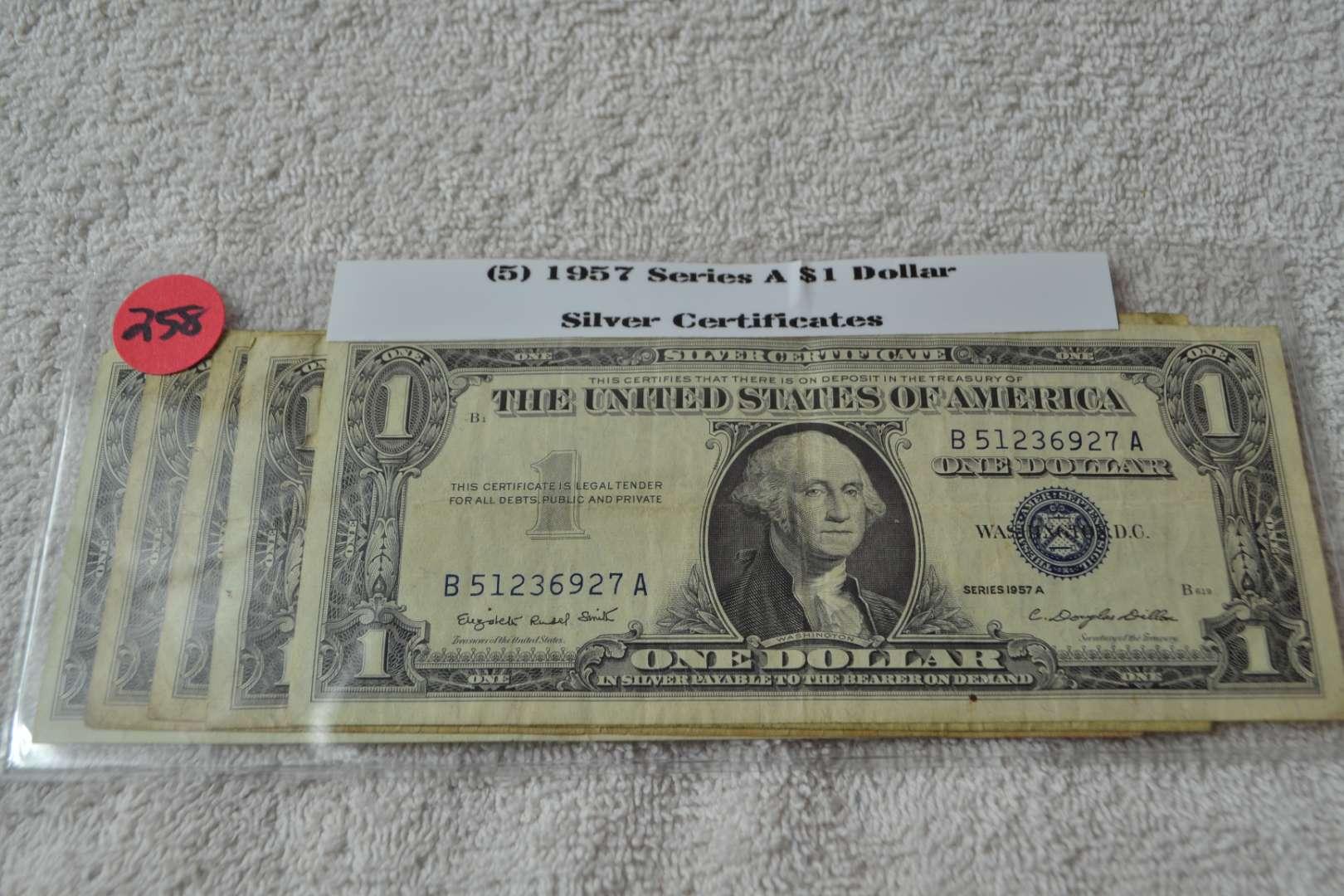 Lot # 258 FIVE 1957 SERIES A $1 SILVER CERTIFICATE
