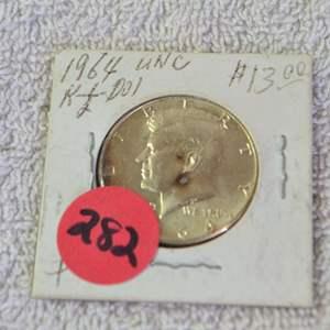 Lot # 282 1964 KENNEDY HALF DOLLAR 90% SILVER