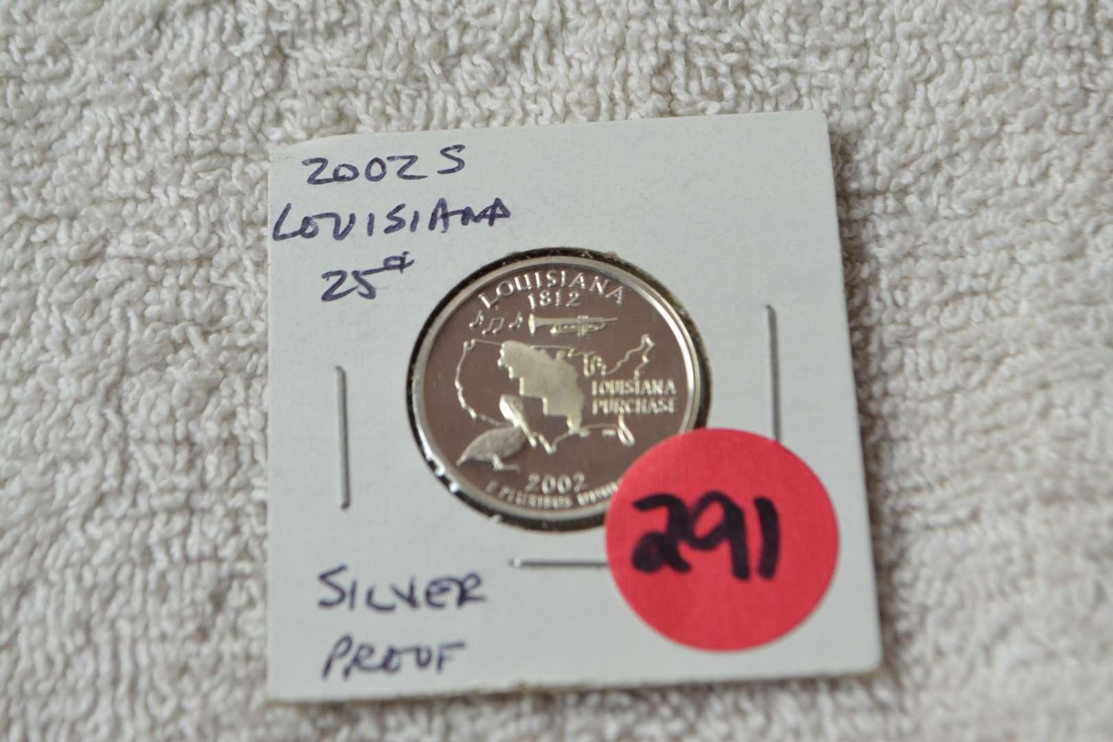Lot # 291 2002-S SILVER PROOF QUARTER LOUISIANA