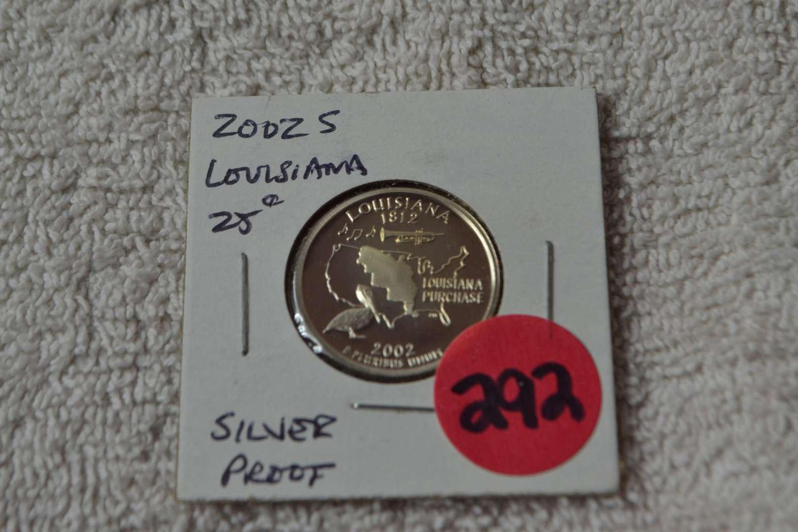 Lot # 292 2002-S SILVER PROOF QUARTER LOUISIANA