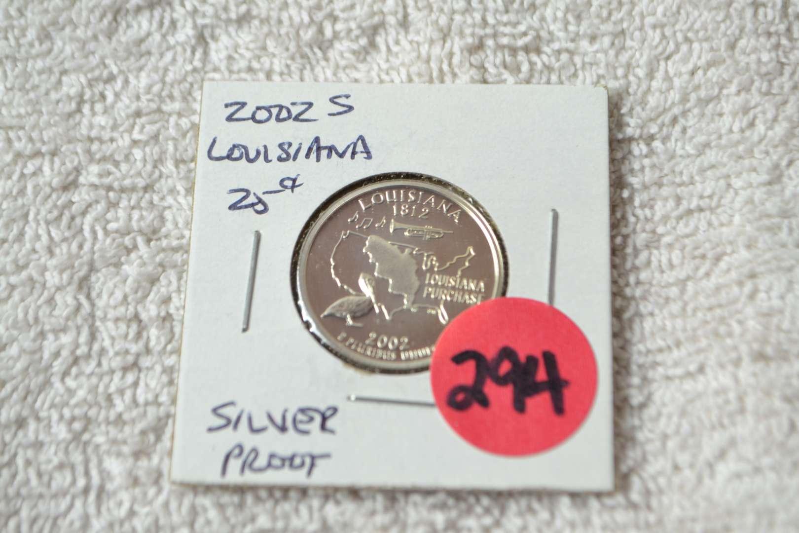 Lot # 294 2002-S SILVER PROOF QUARTER LOUISIANA