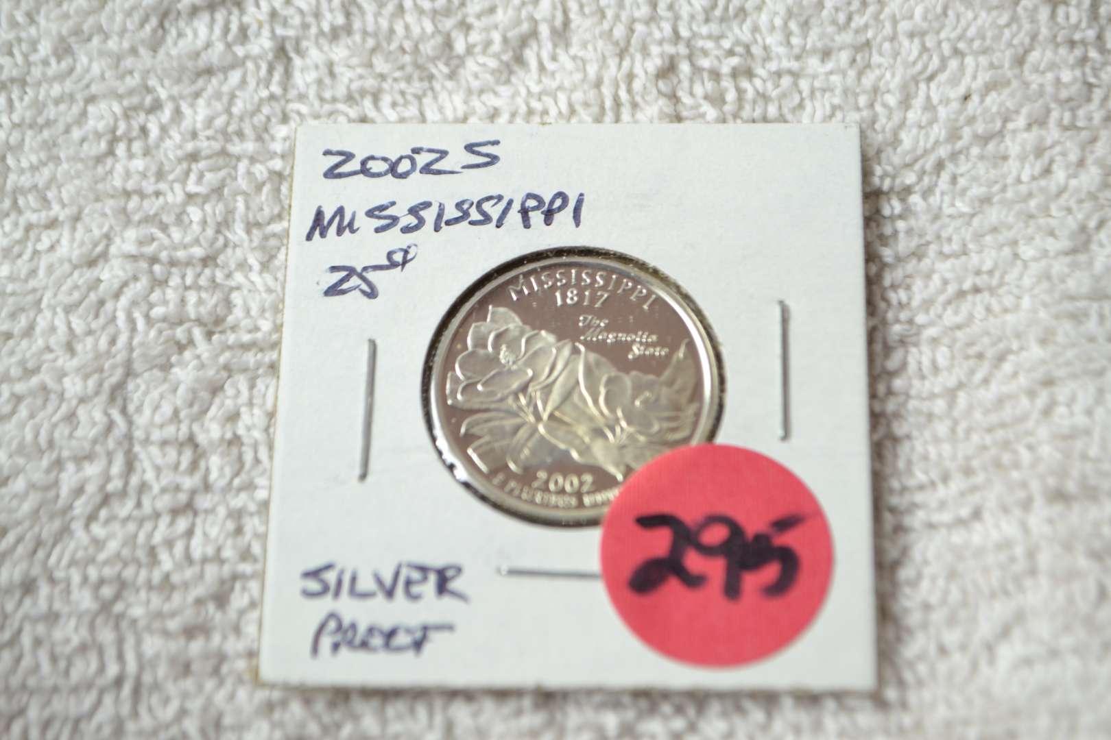 Lot # 295 2002-S SILVER PROOF QUARTER MISSISSIPPI