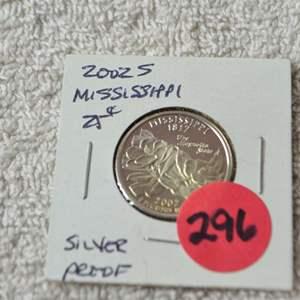 Lot # 296 2002-S SILVER PROOF QUARTER MISSISSIPPI
