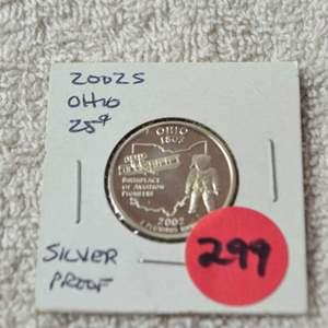 Lot # 299 2002-S SILVER PROOF QUARTER OHIO