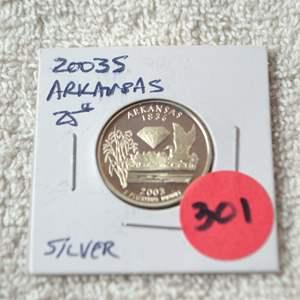 Lot # 301 2003-S SILVER PROOF QUARTER ARKANSAS