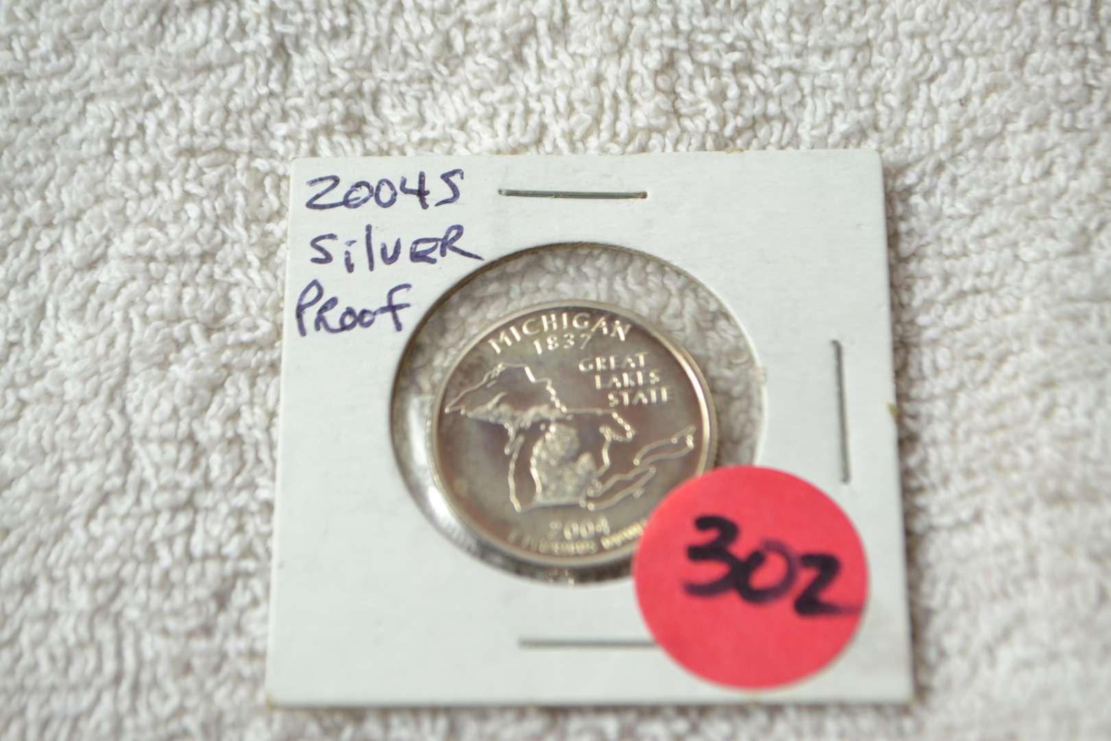 Lot # 302 2004-S SILVER PROOF QUARTER MICHIGAN