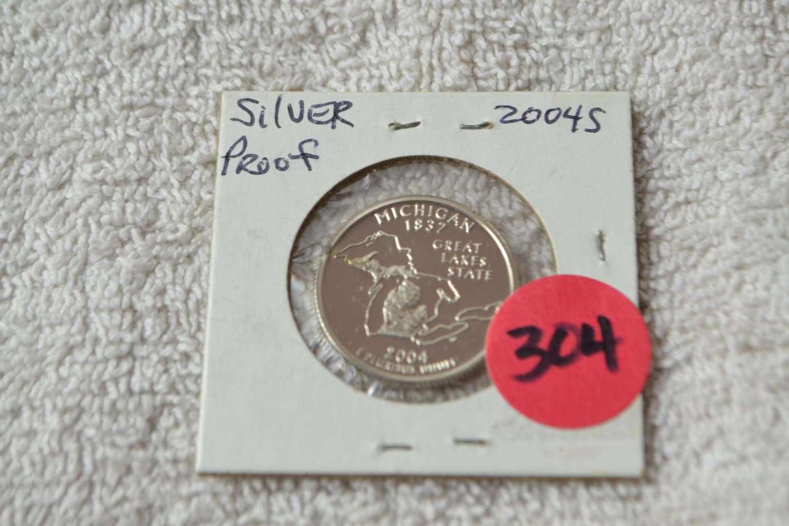 Lot # 304 2004-S SILVER PROOF QUARTER MICHIGAN