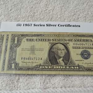 Lot # 312 FIVE 1957 SERIES SILVER CERTIFICATES