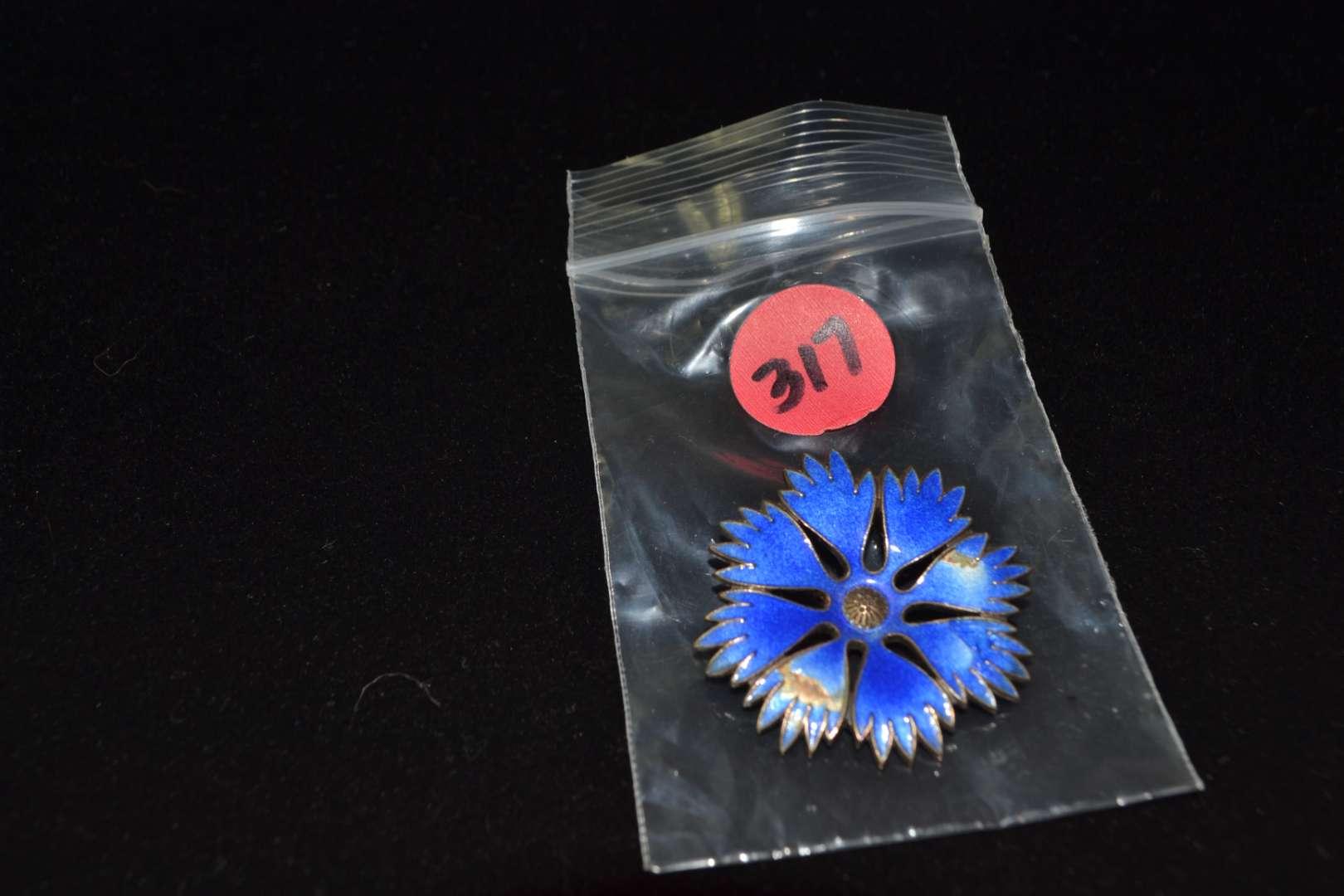 Lot # 317 VINTAGE BLUE ENAMEL & STERLING SILVER FLOWER PIN