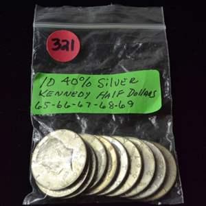 Lot # 321 TEN 40% SILVER KENNEDY HALF DOLLARS 65 THRU 69