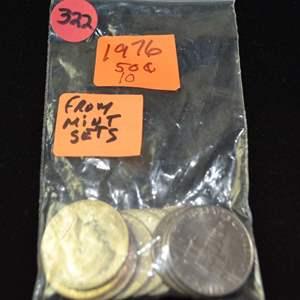 Lot # 322 TEN 1976 KENNEDY HALF DOLLARS FROM MINT SETS