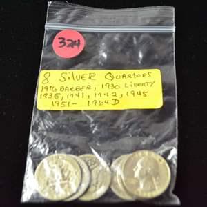 Lot # 324 8 SILVER QUARTERS