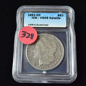 Lot # 328 1891-CC CARSON CITY MORGAN SILVER DOLLAR ICG GRADED VG08 DETAILS