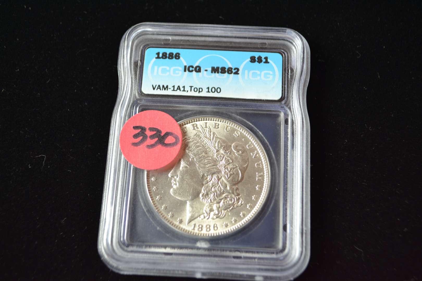 Lot # 330 1886 MORGAN SILVER DOLLAR ICG GRADED MS62