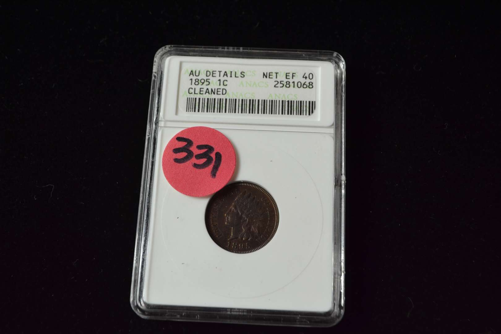Lot # 331 1895 ONE CENT AU DETAILS (CLEANED) ANACS GRADED