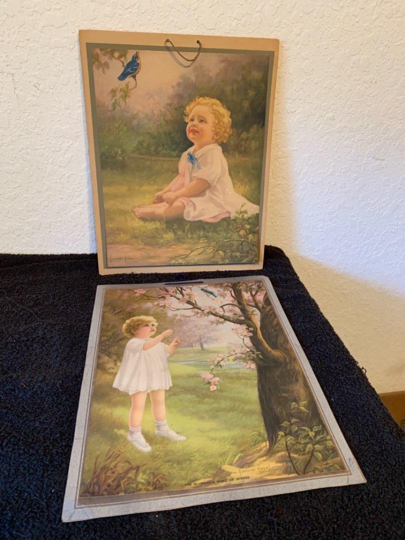 Lot # 20  Sweet 1935 Adelaide Hiebel Calendar & Print. See Below