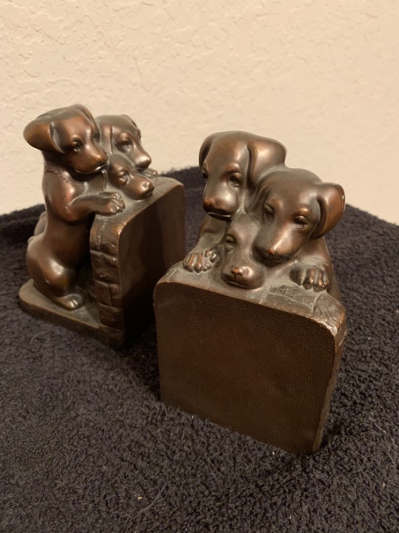 Lot # 22 Adorable Antique Ronson Metal Dog Bookends. See Below