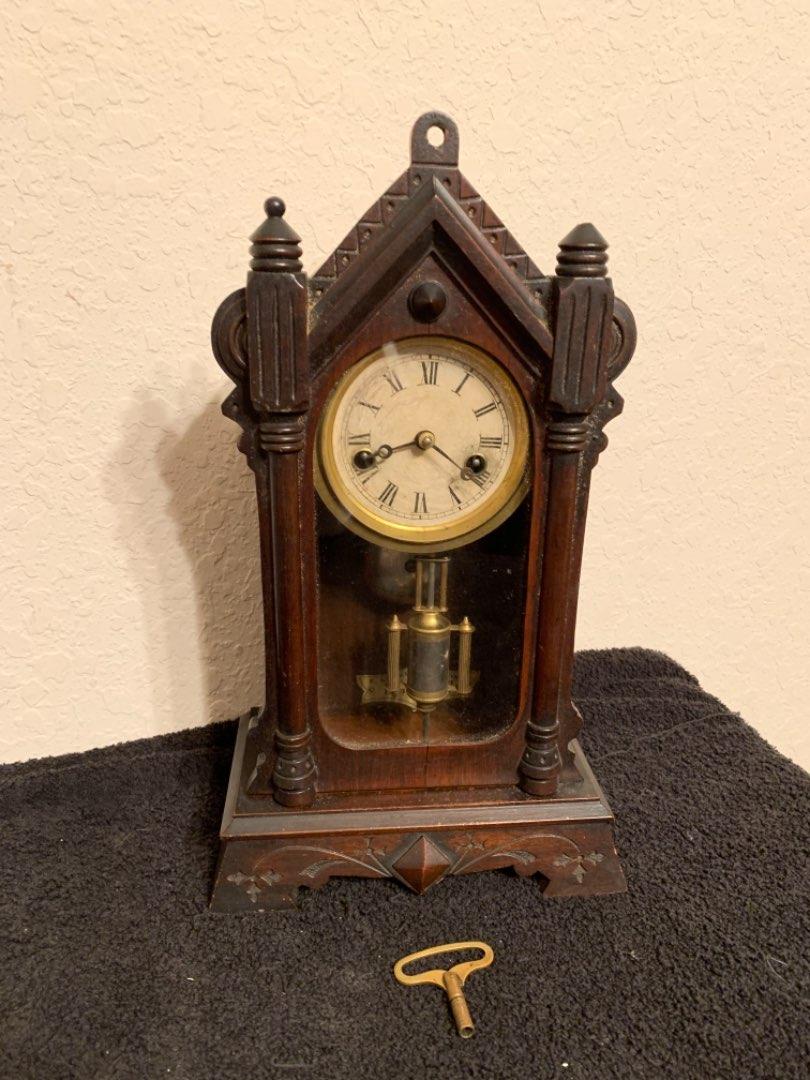 Lot # 24 Rare Antique Walnut F. Kroeber One Day Mantel Clock. See Below