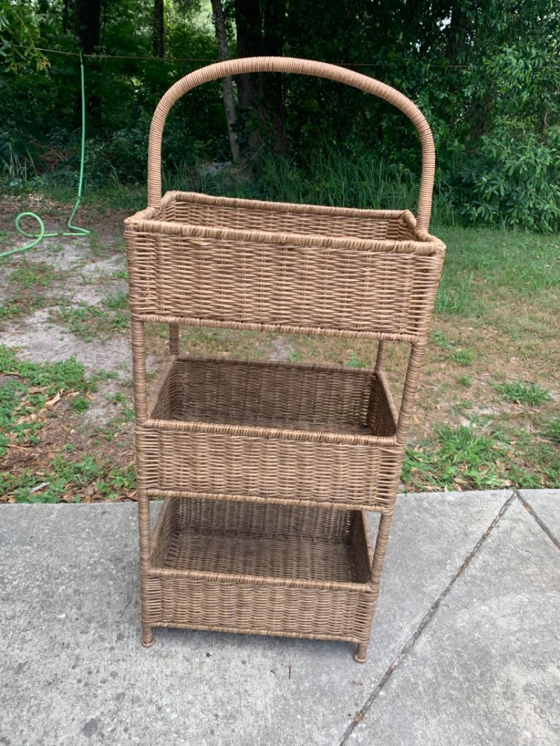 Lot # 36 Great Solid Condition & Clean Faux Wicker Stand