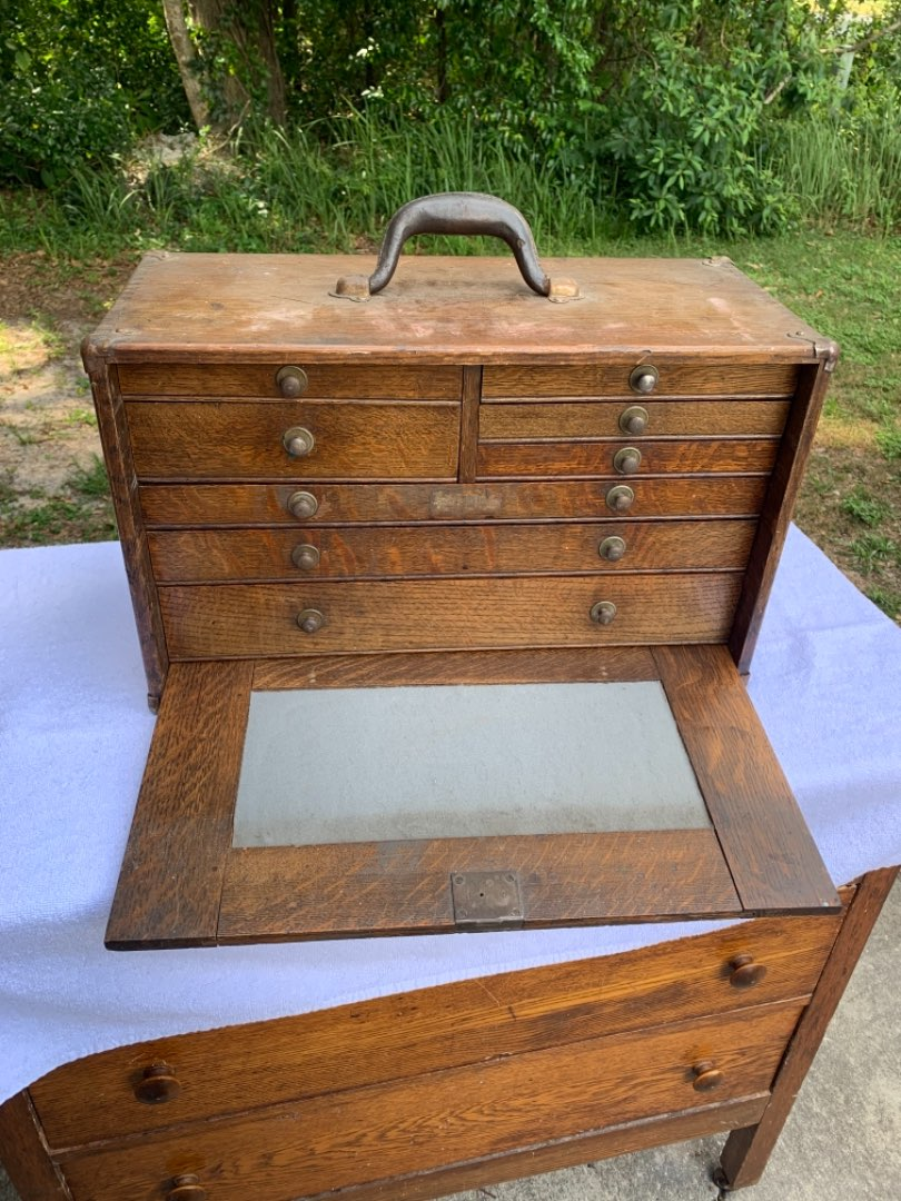 Lot # 38 Beautiful Dovetailed Antique Oak 8 Drawer Machinest Chest. See Below