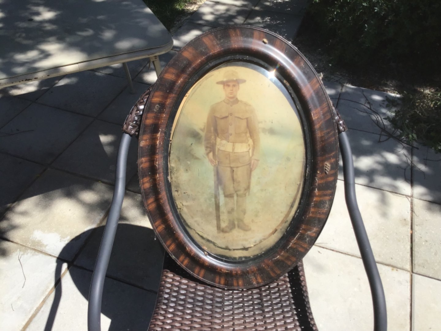 Lot # 44 Very Early (WW 1) Military Soldier - Antique Frame/Convex Glass-See Below