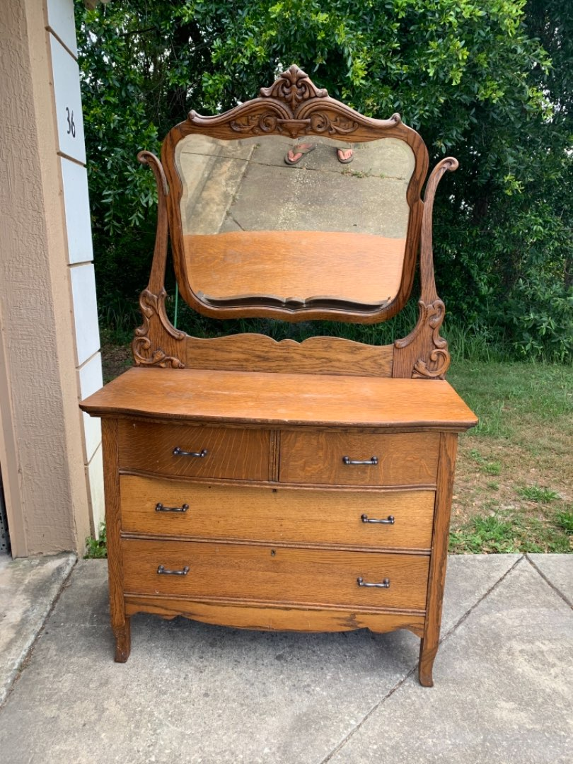 Lot # 50 Solid Antique 2/2 Drawer Oak Chest With Mirror. See Below
