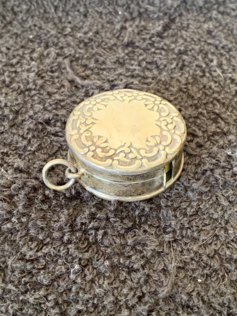 Lot # 56 Beautiful Working Floral Sterling Silver Sewing Tape Measure