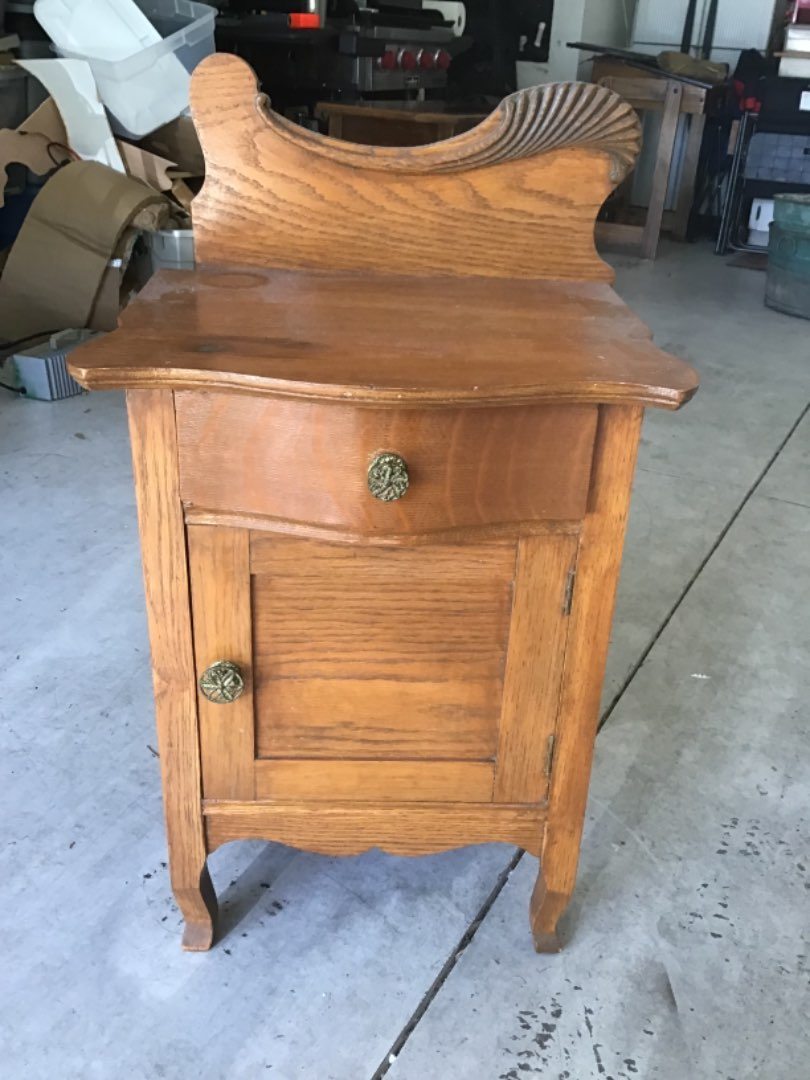 Lot # 66 Fancy Antique Oak 1/2 Commode for Pitcher & Bowl on top, Chamber Pot Under!