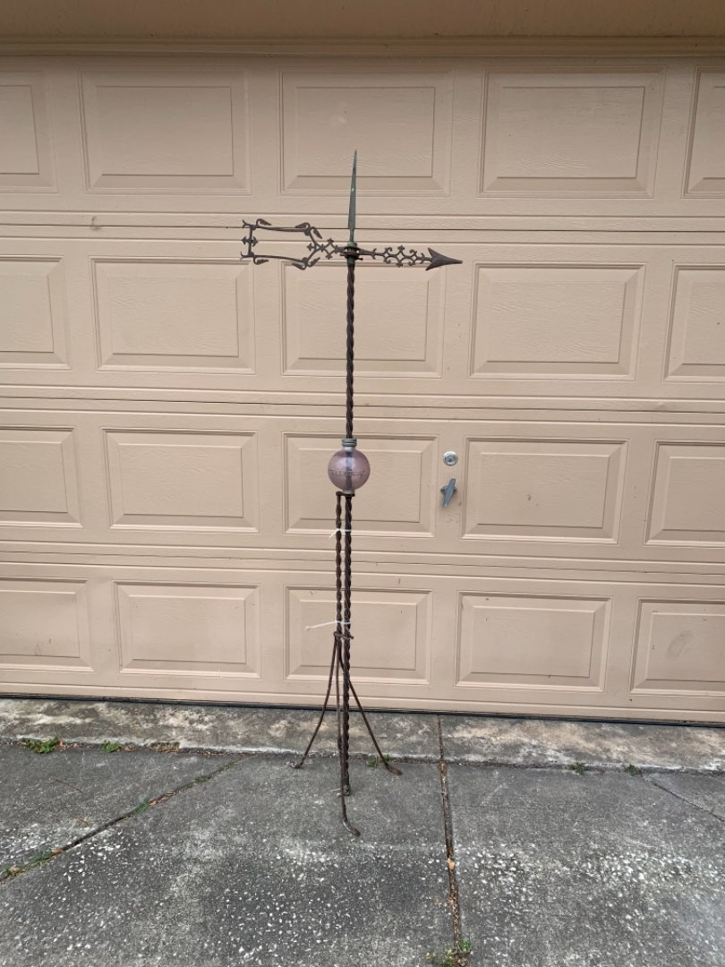 Lot # 73 Another WOW! Antique Complete Lighting Rod WITH Electra Glass Ball & Arrow Directional! See Below