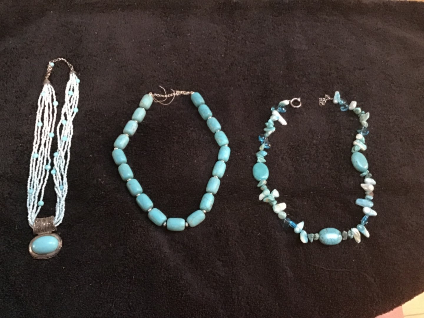 """Lot # 84 Three (3) Nice Turquoise Necklaces! Middle - 18"""", Right one 19"""", Left is 20"""" - Beautiful!"""