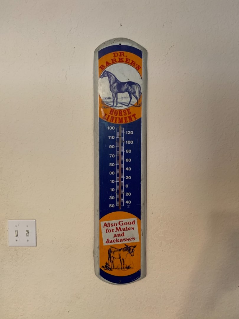 """Lot # 87 Vintage Large Tin 1981 Working (39"""") Dr. Barkers Horse Liniment Thermometer. Great condition"""