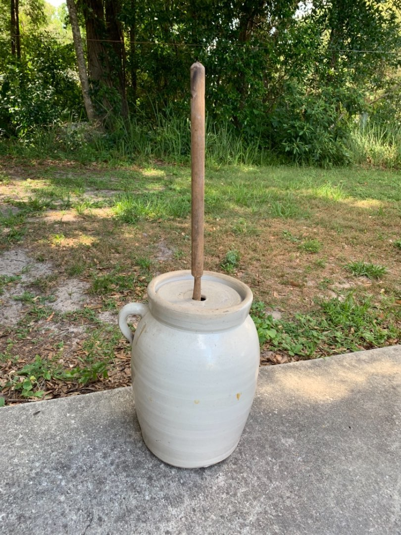 Lot # 94 Excellent Early 3 Gallon Stoneware Butter Churn. No chips/cracks!