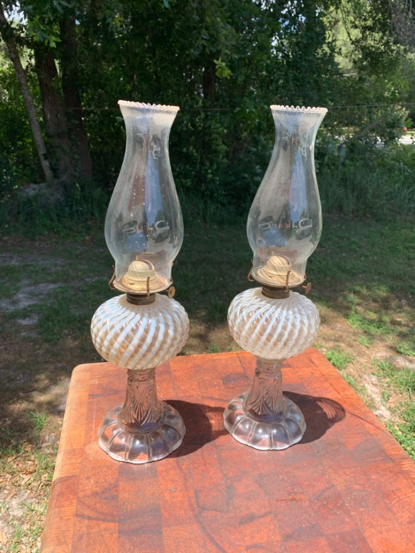 Lot # 107  Beautiful Matching Pair Antique Oil Lamps
