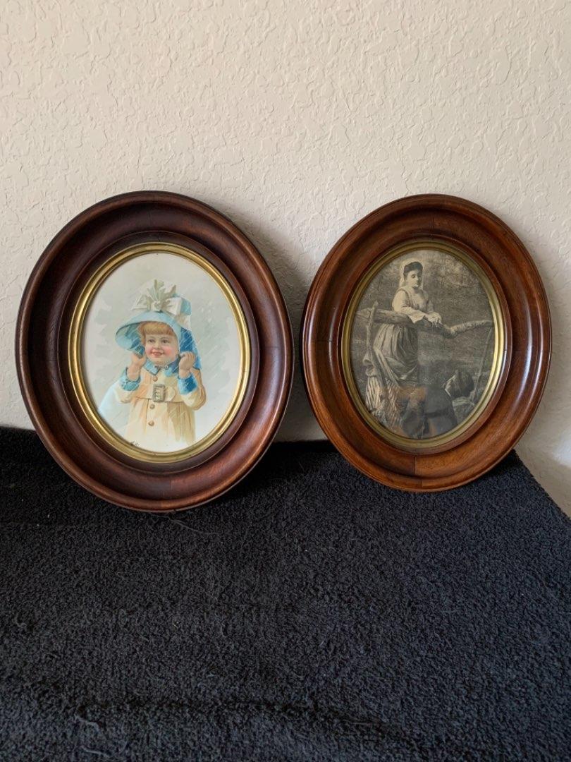 Lot # 108 Pair Beautiful Antique Deep Walnut Oval Frames Dated 1869. See Below
