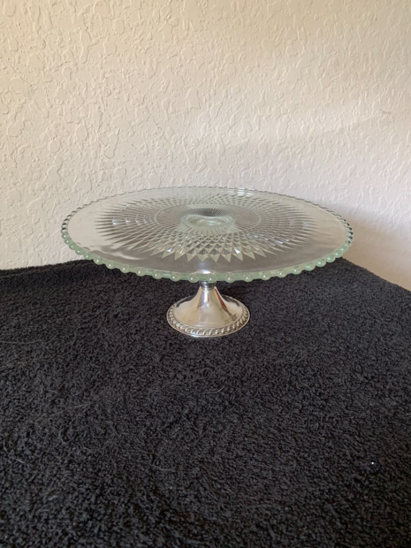 Lot # 109 Beautiful Condition STERLING SILVER /Crystal Pedestal Cake Plate. See Below
