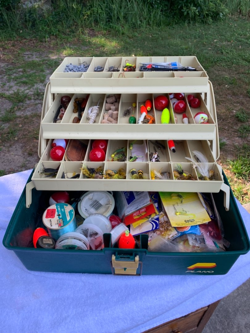 Lot # 112 Great Plano Tackle Box LOADED. Mostly Fresh Water