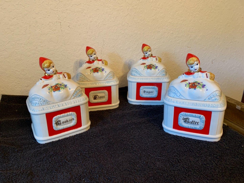 Lot # 122 Wonderful Vintage Little Red Riding Hood Large Canister Set. See Below