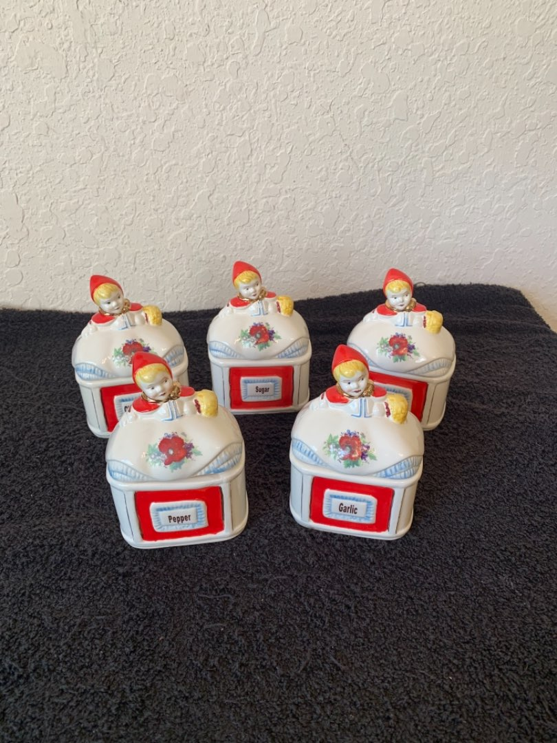 Lot # 123 WOW! Another Great Find! Large Lot Hull Little Red Riding Hood 5 Piece Canisters/Spice Jars. See Below