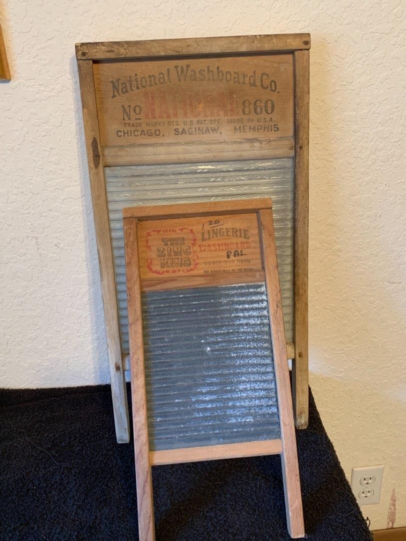 Lot # 126 Pair Vintage National Washboards. 1 Zinc & 1 Glass