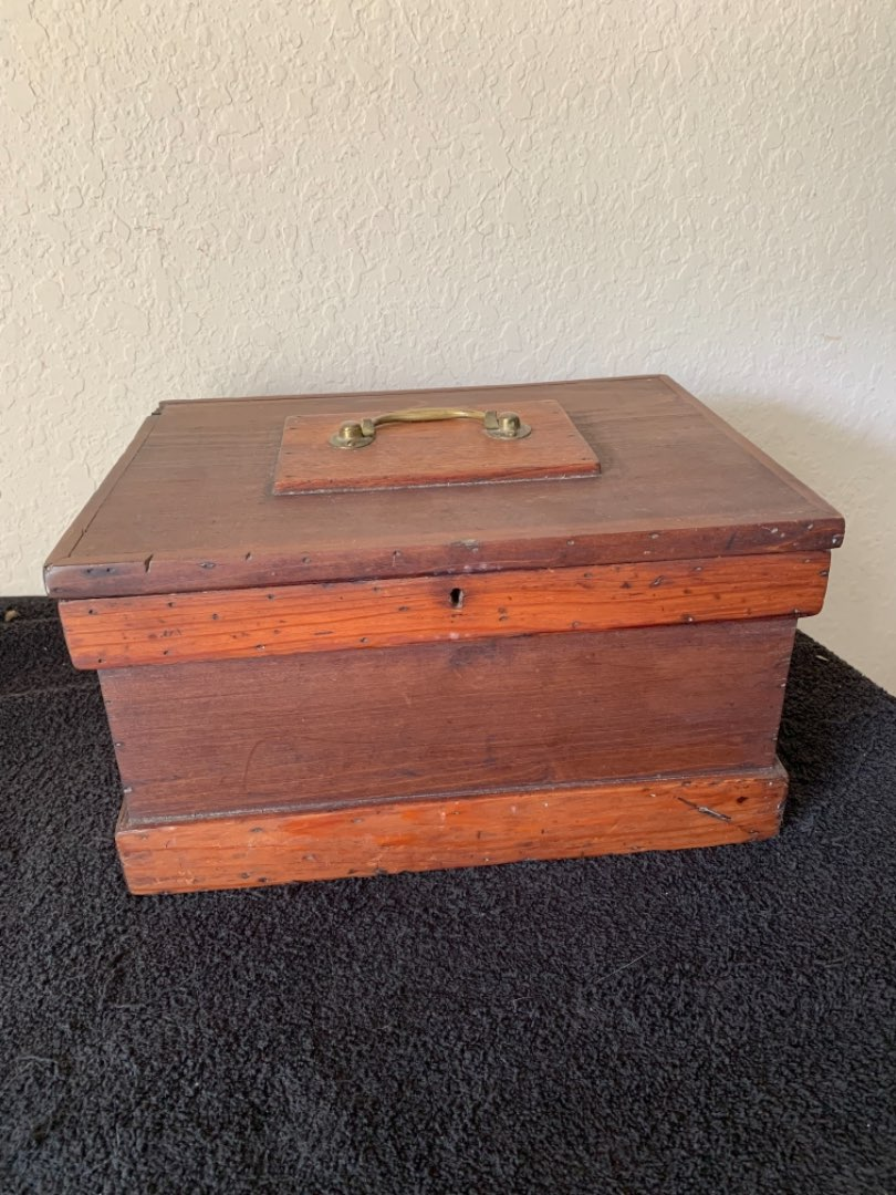 Lot # 127  Sweet Solid Small Antique Wooden Tool Chest