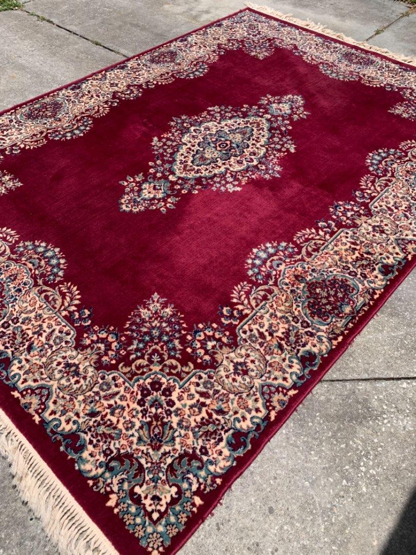 Lot # 133 Gorgeous CLEAN Vintage Kerman 8' X 11' Oriental Rug. See Below