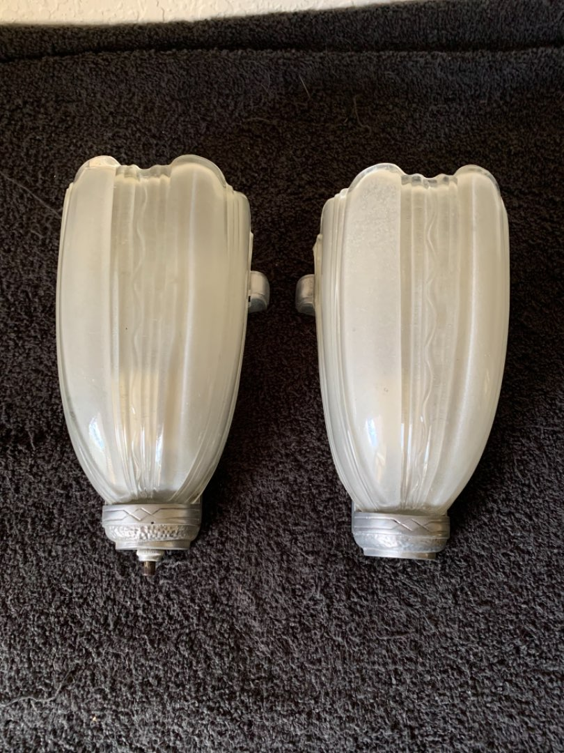 Lot # 134 Another WOW! Vintage PAIR Art Deco Slip Shade Wall Sconces. See Below