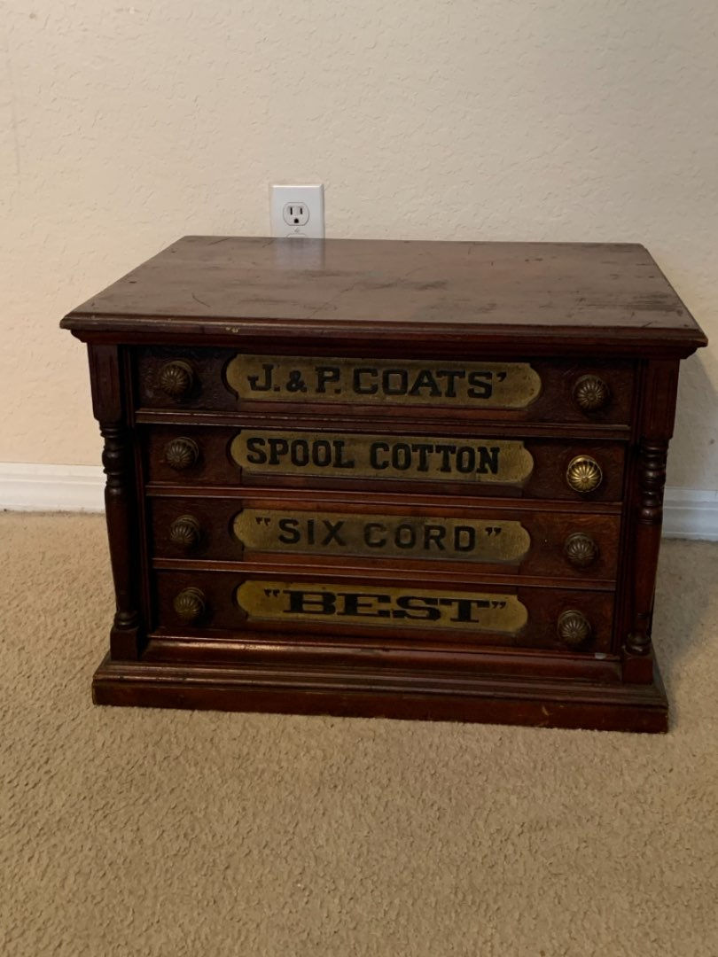 Lot # 135 WOW WOW!! OUTSTANDING Immaculate 4 Drawer Antique J & P Coats Spool Cabinet. Must See. See Below