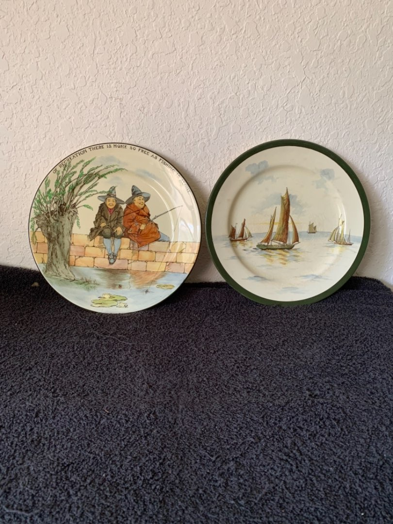 Lot # 136 Two Antique Large Royal Doulton Plates In Excellent Condition