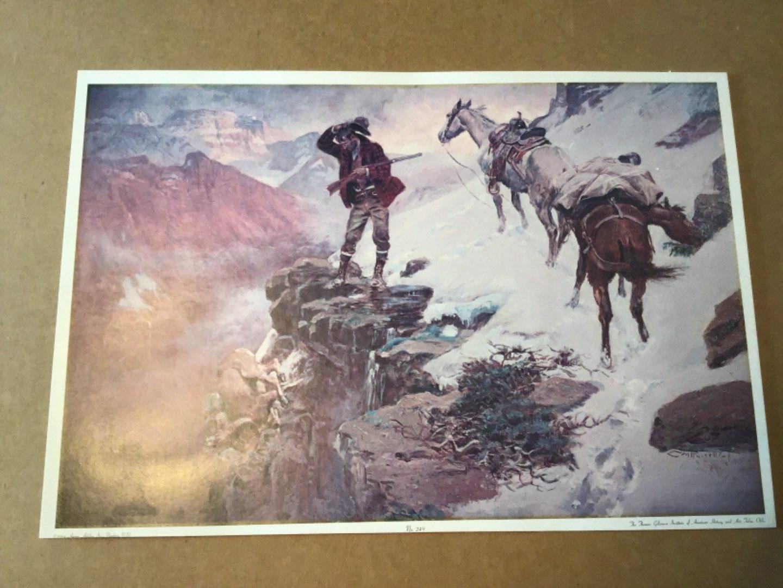 Lot # 137 Very Nice Vintage C. M. RUSSELL Print on stiff cardboard - Mounted in 1964 - See Below